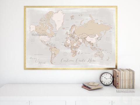 "Personalized print: rustic world map with countries and states in distressed neutrals. ""Lucille"""