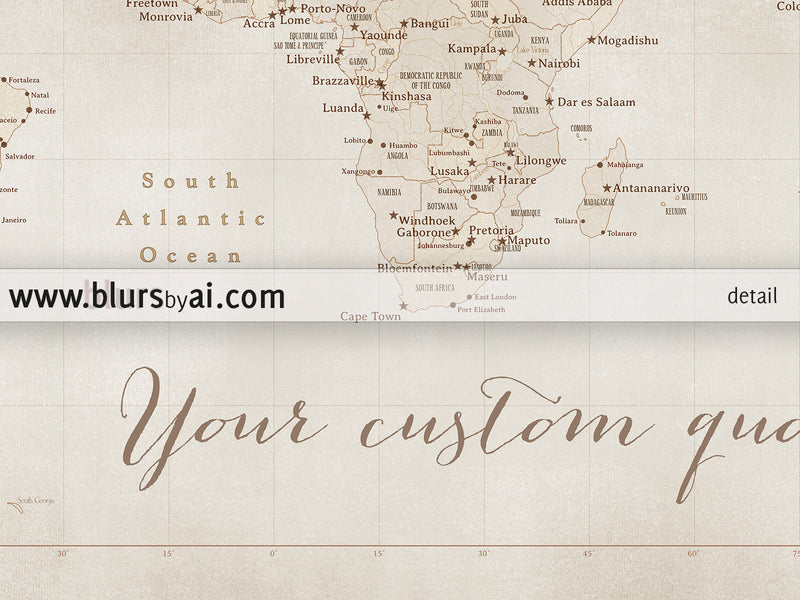 Custom quote - Printable world map with cities in vintage style