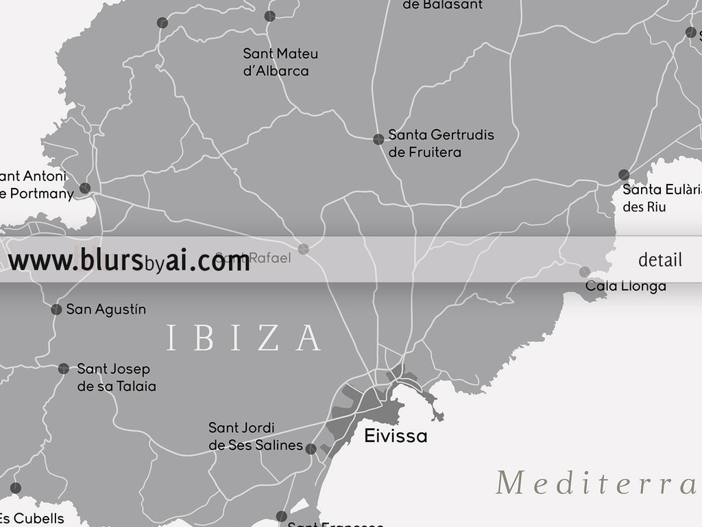 Large printable map of Ibiza Spain in grayscale 36x24 blursbyai