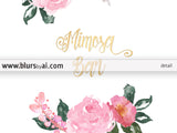 Printable Mimosa Bar sign featuring roses and faux gold foil