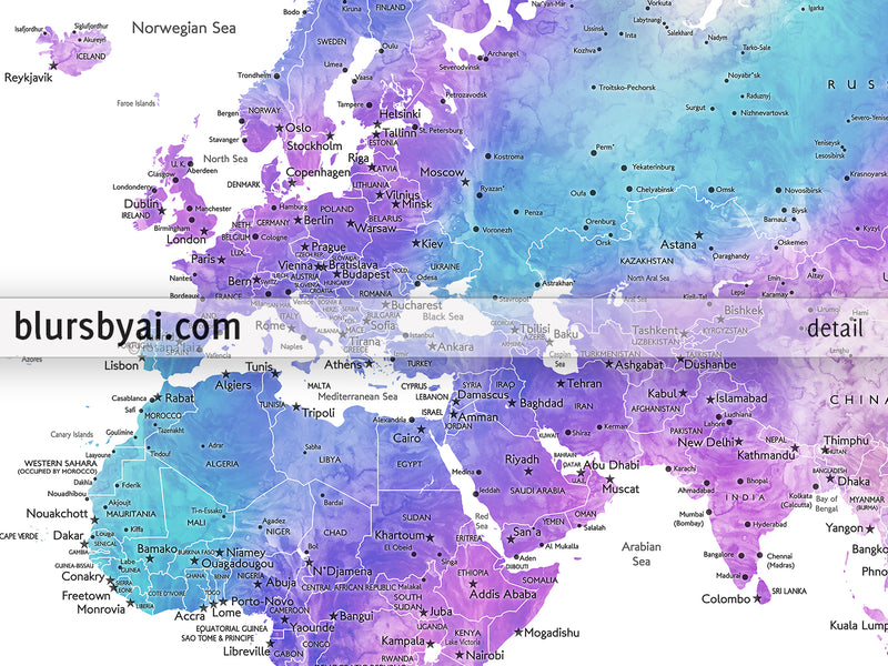 "Custom print: world map with cities in bright blue, purple and teal watercolor. ""Violetta"""
