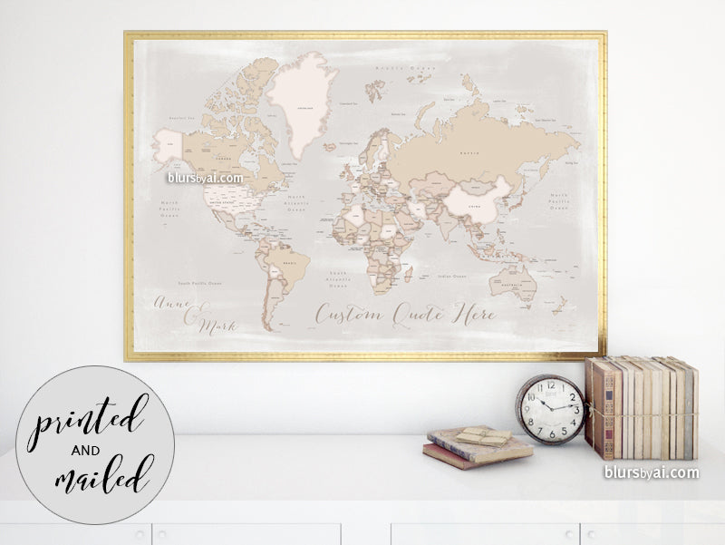 "Custom print: rustic world map with countries and states in distressed neutrals. ""Lucille"""