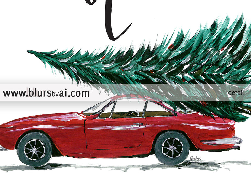 Cut your own Christmas tree printable sign featuring a red car carrying a Christmas tree