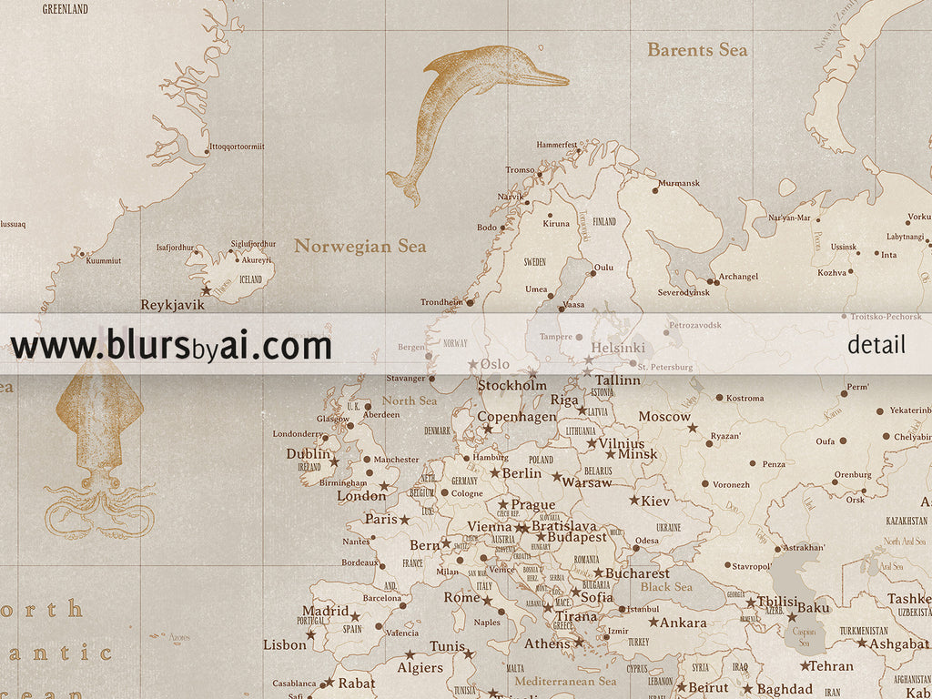 Personalized world map printable world map with cities in vintage custom names printable world map with cities in vintage style featuring sea monsters and sail publicscrutiny Choice Image