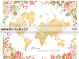 Colorful floral gold foil world map printable art, bloom where you are planted
