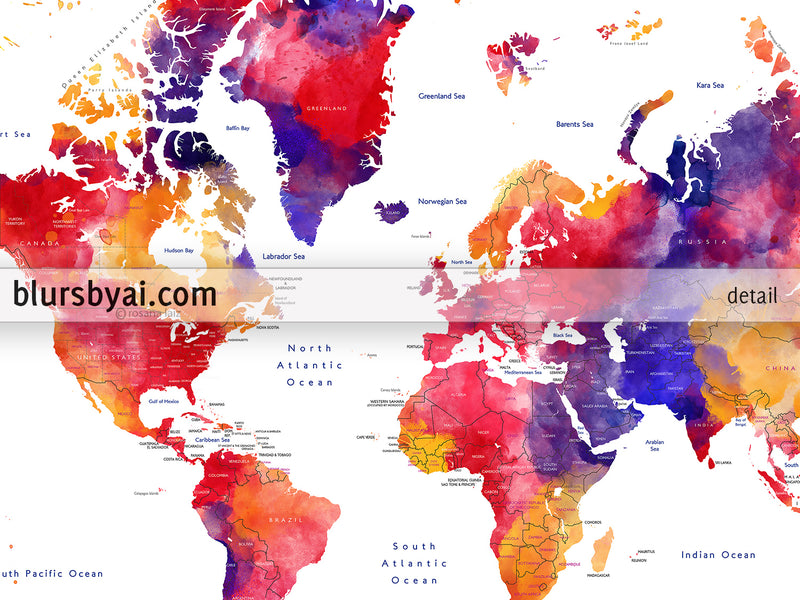 "Custom map print: world map with countries and states in colorful watercolor. ""Noor"""