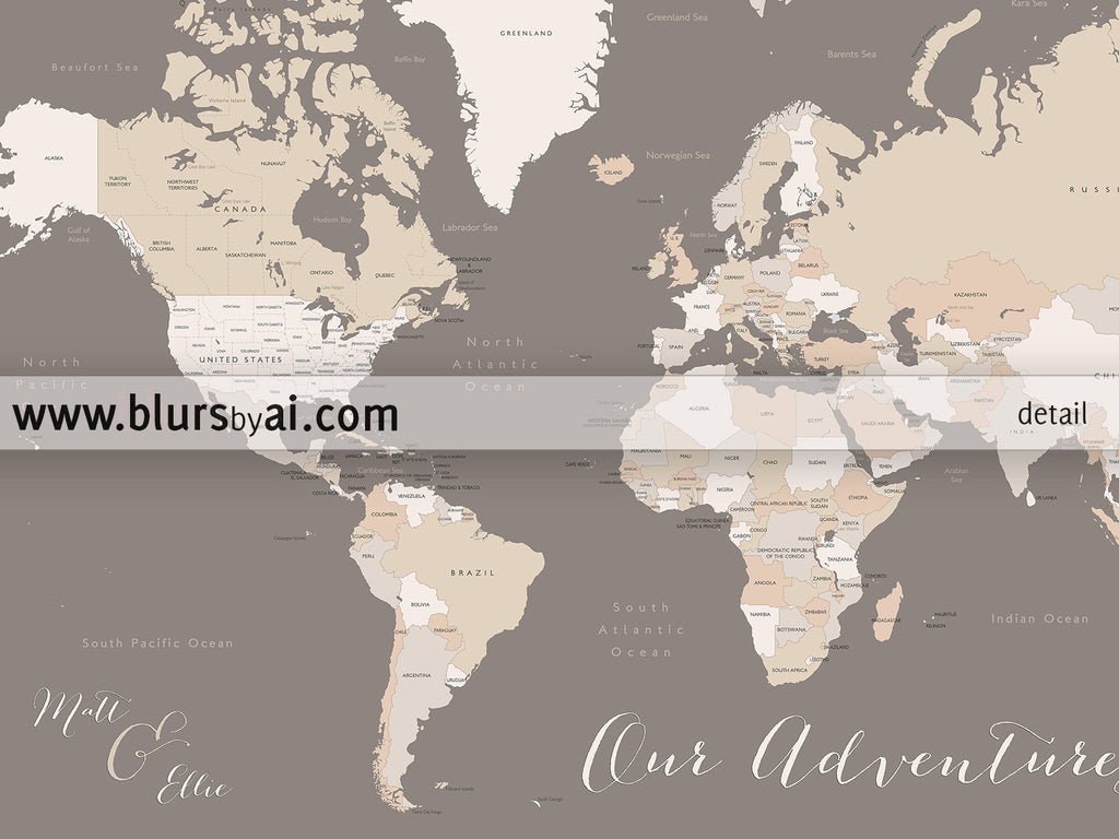 Personalized world map printable art map with countries US