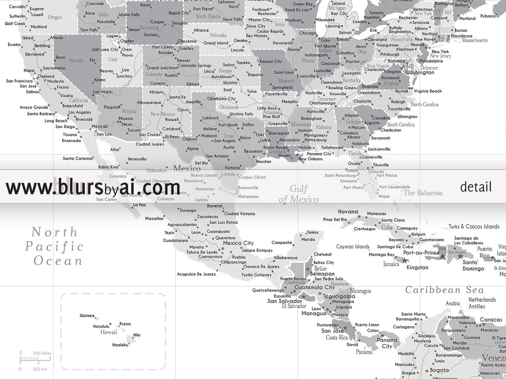 Set of two printable North America maps US Canada and Caribbean