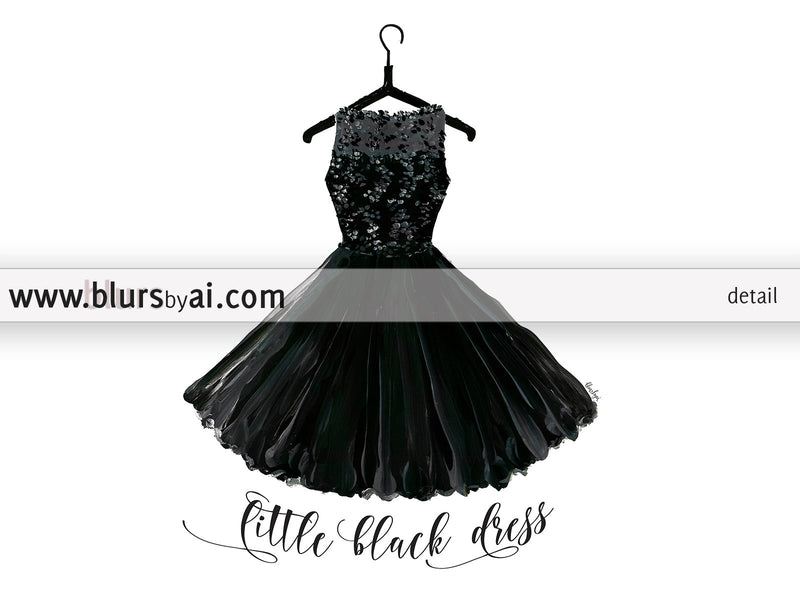 Little black dress, printable fashion illustration - Personal use