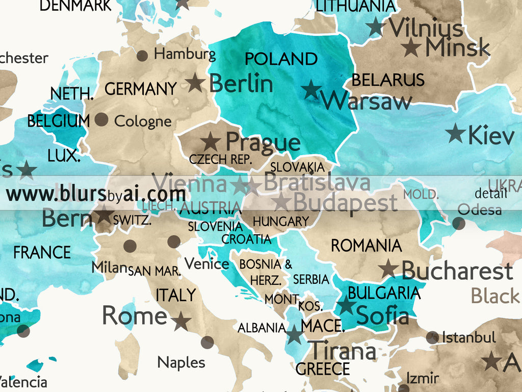 Personalized world map printable in aquamarine and brown watercolor custom quote printable world map with cities capitals countries us states gumiabroncs Choice Image