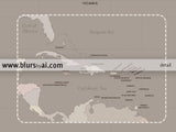 Custom quote printable world map with Antarctica, countries and states. Color combination: light earth tones