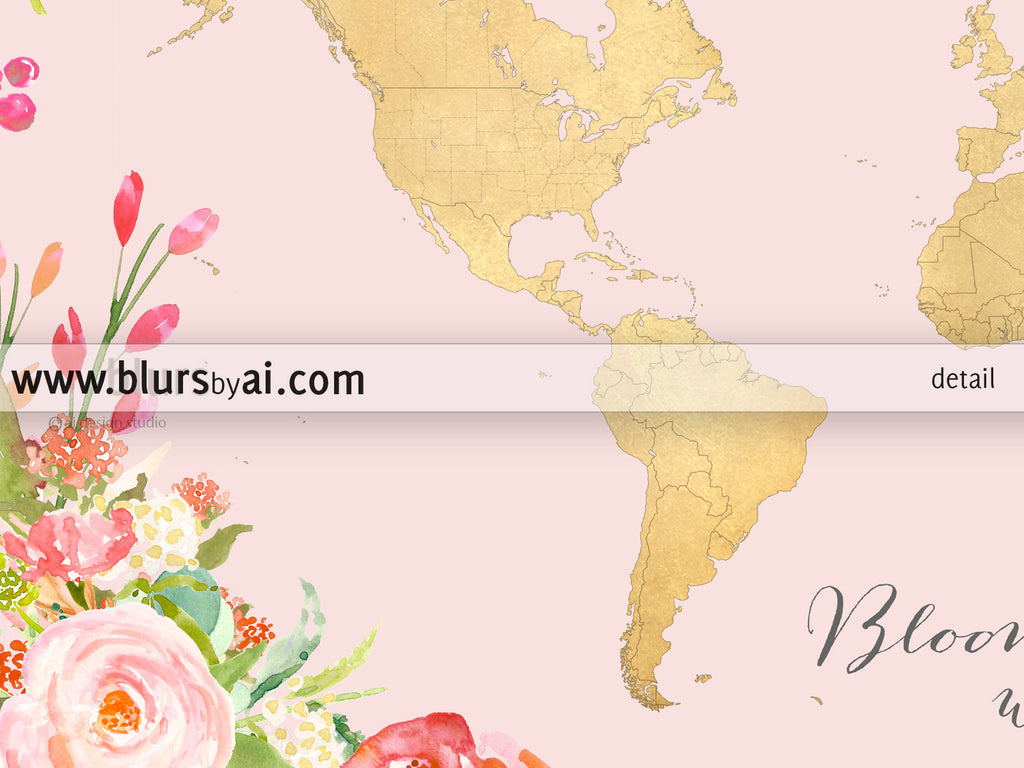 Floral gold foil world map printable art bloom where you are floral gold foil world map printable art bloom where you are planted blush sciox Image collections