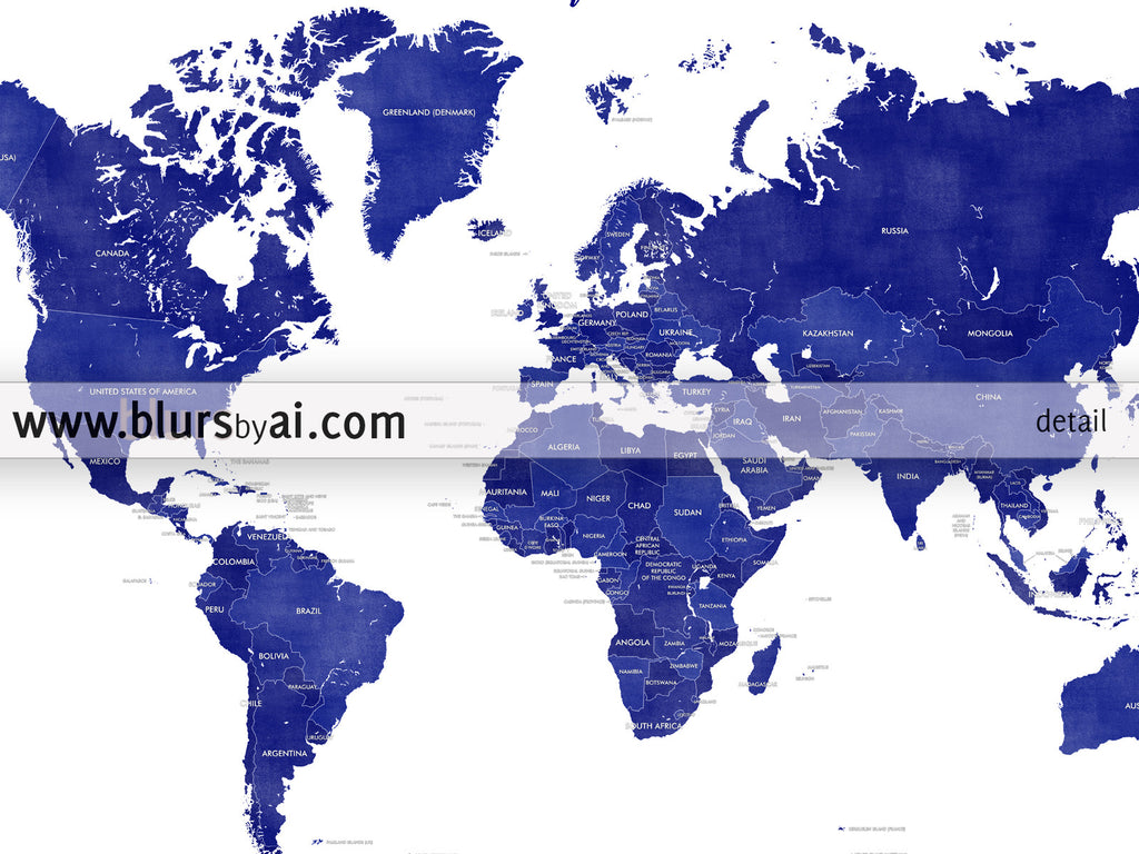 Printable Personalized World Map With Countries In True Navy Blue
