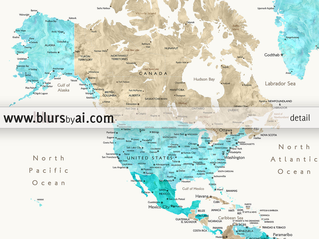 Personalized world map printable in aquamarine and brown