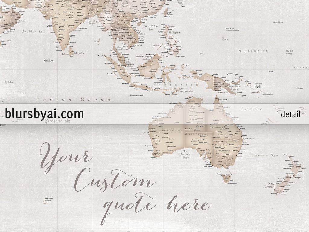 Personalized large highly detailed rustic world map canvas print