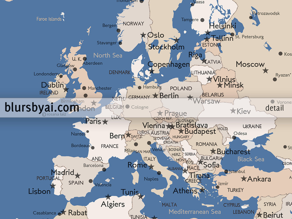 Personalized printable world map with cities, capitals, countries ...
