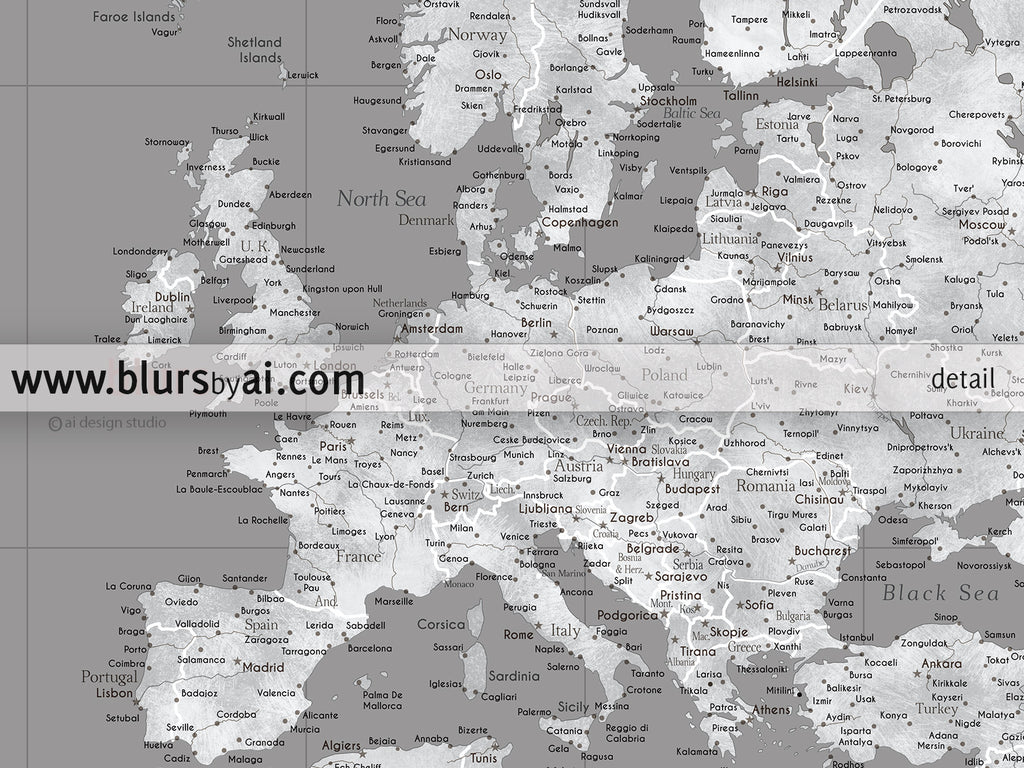 Custom quote highly detailed world map poster grunge grayscale valentina custom quote highly detailed world map poster grunge grayscale gumiabroncs Gallery