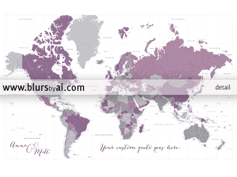"Custom large & highly detailed world map canvas print or push pin map in purple and gray. ""Aubergine"""