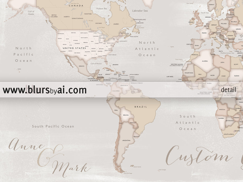 Personalized print rustic world map with countries and states in lucille personalized print rustic world map with countries and states in distressed neutrals gumiabroncs Images