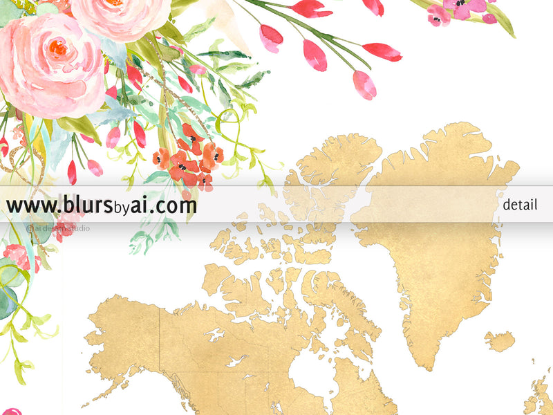 Colorful floral gold foil world map printable art, bloom where you are planted - For personal use only