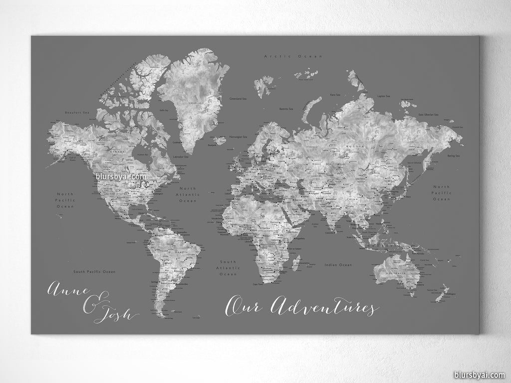 Personalized world map with cities canvas print or push pin map in personalized world map with cities canvas print or push pin map in gray gumiabroncs Gallery