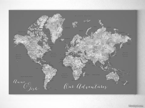 "Personalized world map with cities, canvas print or push pin map in gray. ""Asher"""