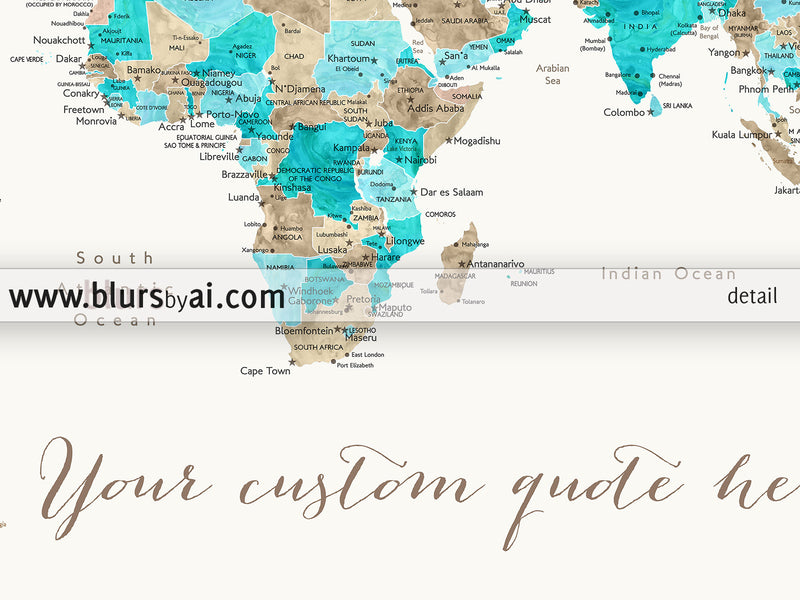 Custom quote printable world map with cities, capitals, countries, US States... labeled. Color combination: Kian