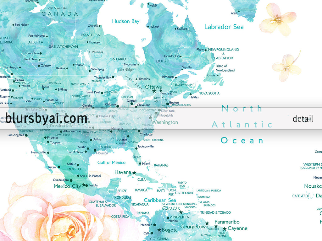 Floral world map printable with aquamarine land masses countries