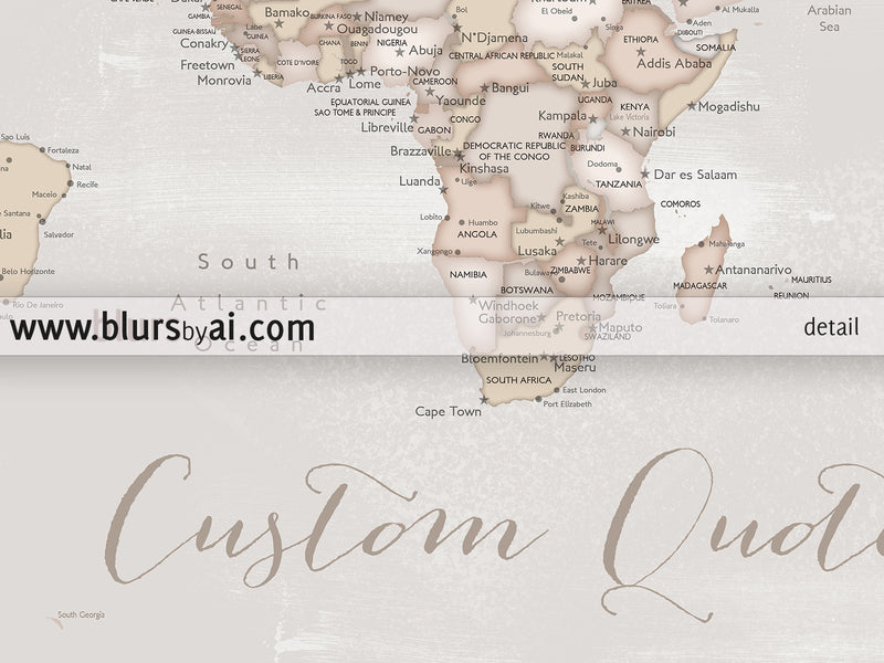 "Custom print: rustic world map with cities in distressed neutrals. ""Lucille"""