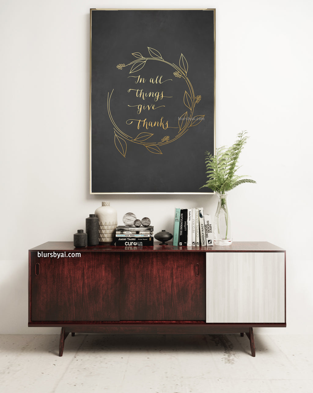In all things give thanks, gold/white and chalkboard quote print