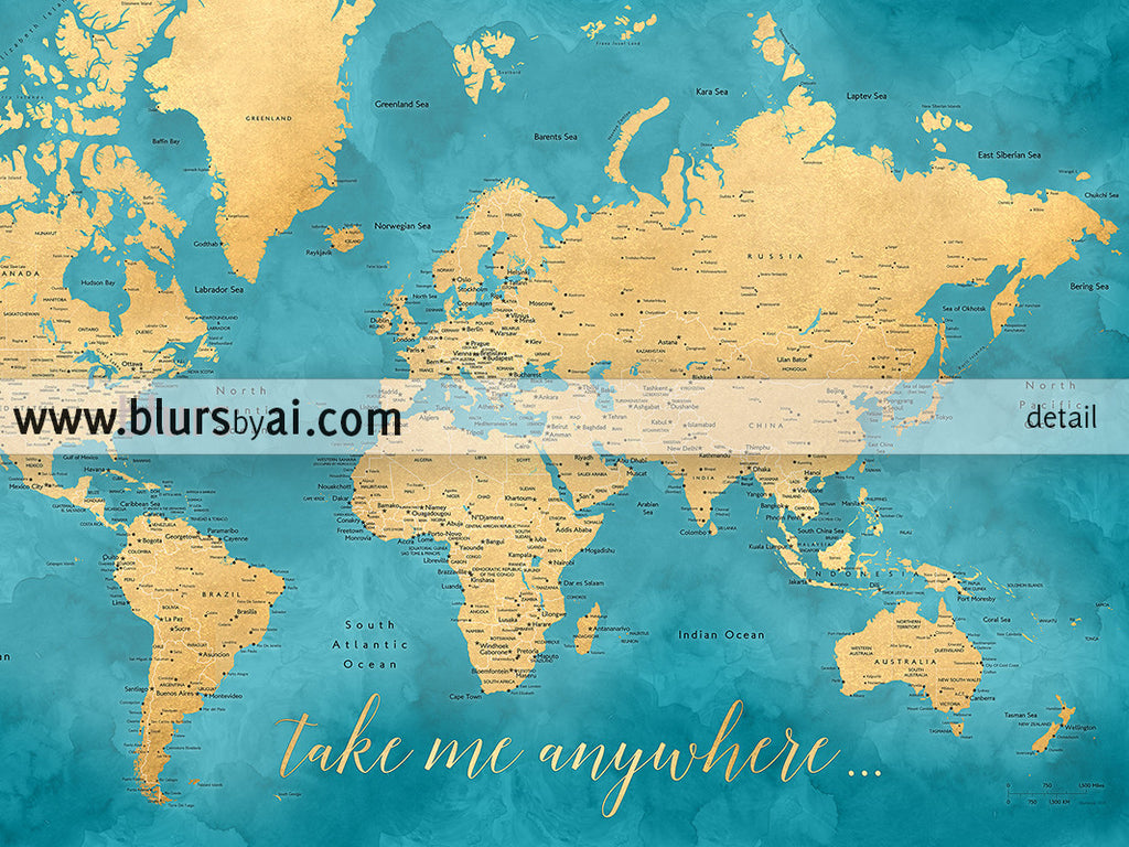 Printable teal and gold world map with cities 36x24 take me