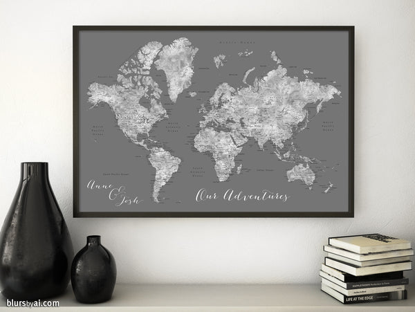 "Custom print: world map with cities in gray watercolor and grey background. ""Asher"""