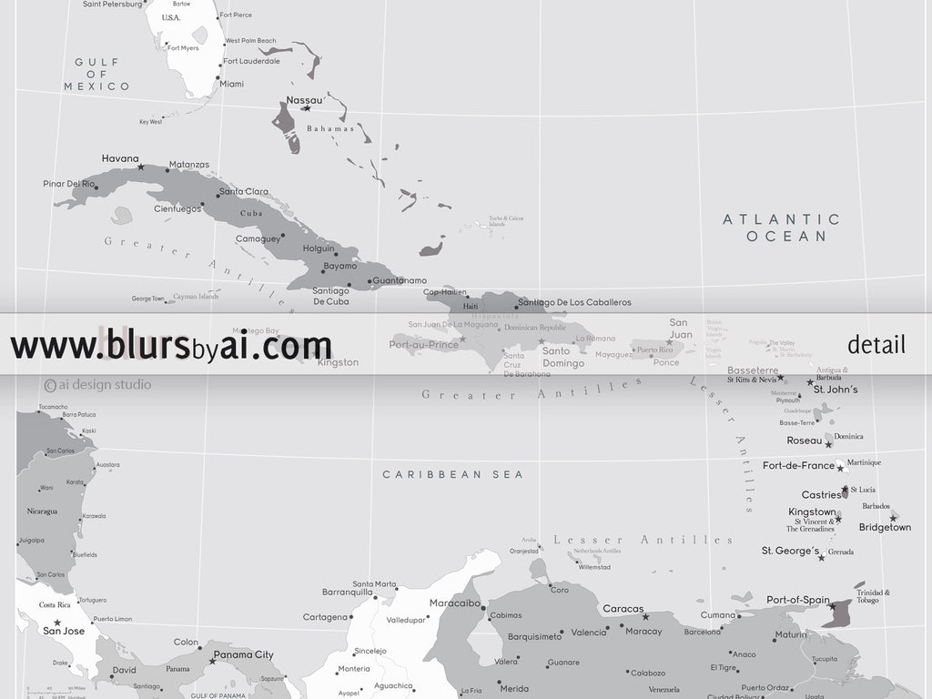 Printable map of the Caribbean Islands with capitals and cities