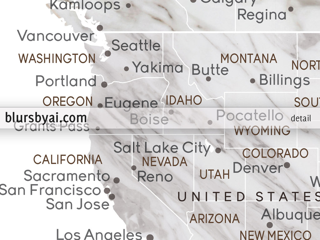 Personalized marble effect world map with cities canvas print or ...