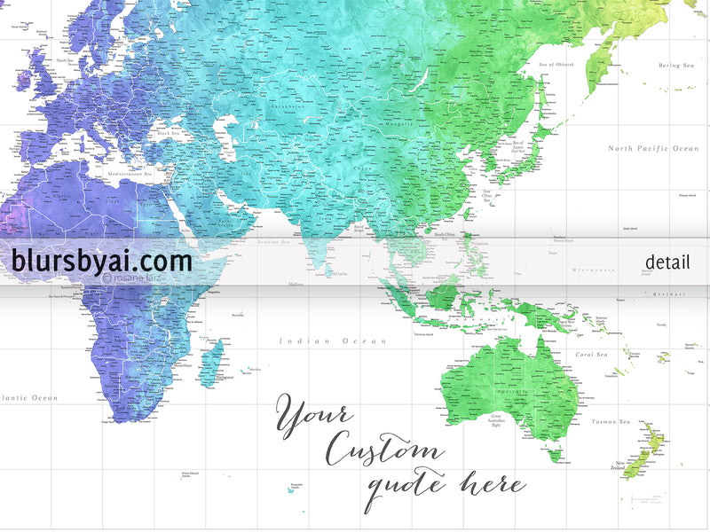 "Custom world map print - highly detailed map with cities in colorful watercolor gradient. ""Jude"""