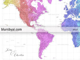 "Personalized world map print - highly detailed map with cities in colorful watercolor gradient. ""Jude"""