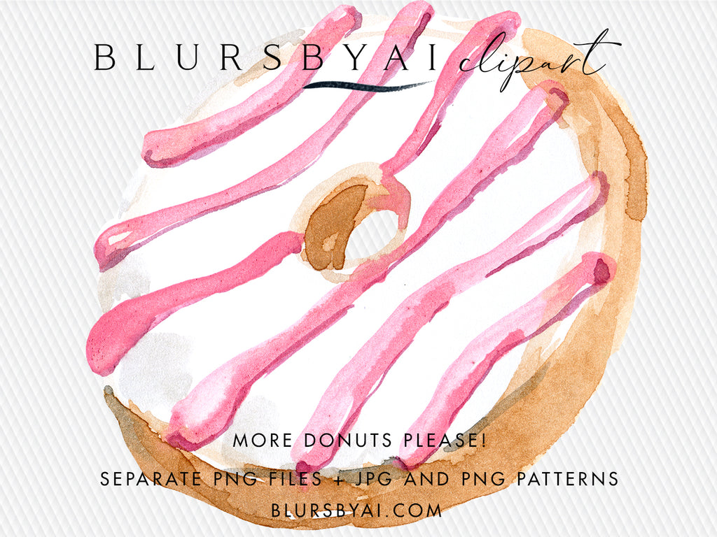 More donuts please! Watercolor donuts cliparts and patterns, commercial license