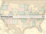 "Custom vintage looking USA map with cities, canvas print or push pin map. ""Librarian"""