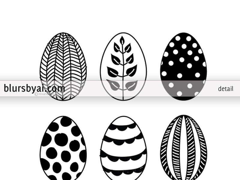 9 Easter eggs printable, black and white scandinavian decor - Personal use