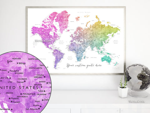 Custom quote - printable colorful gradient watercolor world map with cities, capitals, countries, US States... labeled. Color combination: Leo