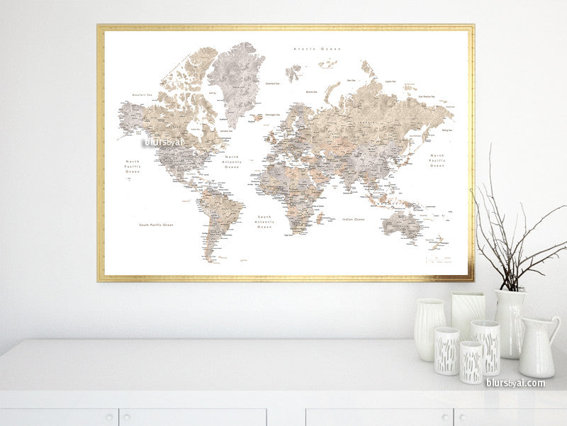 "Printable watercolor world map with cities in neutrals, no quote, sizes from 30x20"" to 60x40"""
