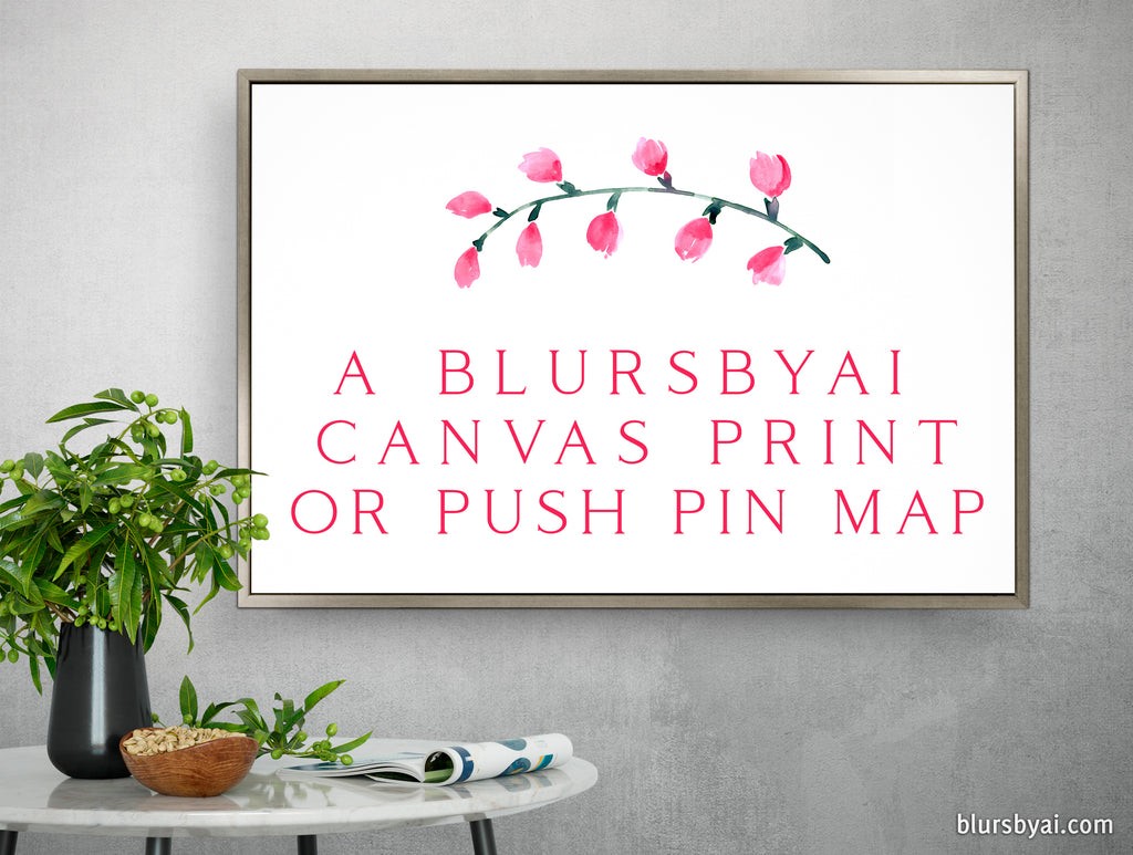 Customized canvas print or push pin map (optional frame) according to our messages - IF NO BACKING, SHIPS IN 8 BUSINESS DAYS OR SOONER