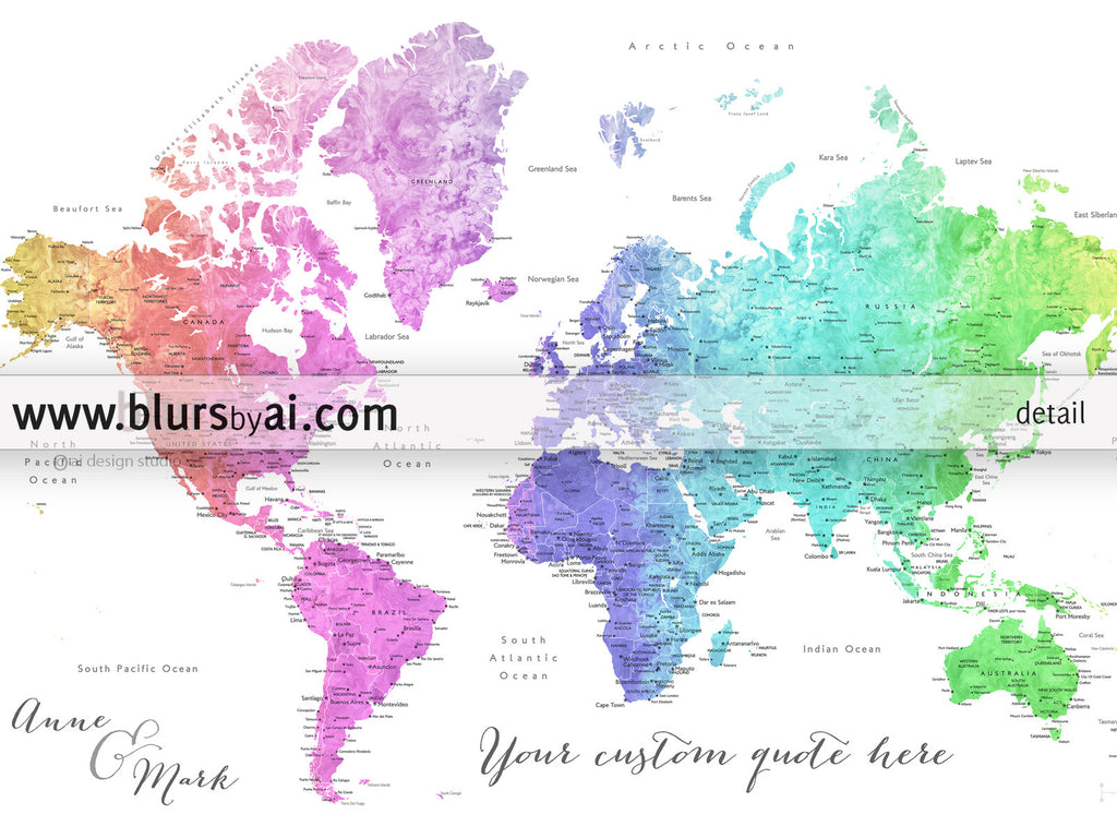 Personalized World Map Printable Colorful Gradient Watercolor - Labeled world map