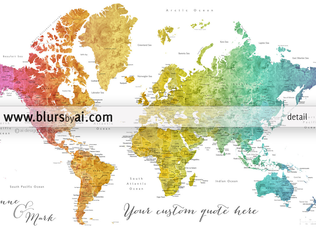photo relating to World Map Printable identified as Tailor made quotation - printable vibrant gradient watercolor earth map with towns, capitals, nations around the world, US Claims classified. Shade mixture: Phoenix