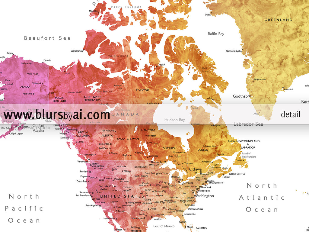 Personalized World Map Printable Colorful Gradient Watercolor - Printable us map with cities