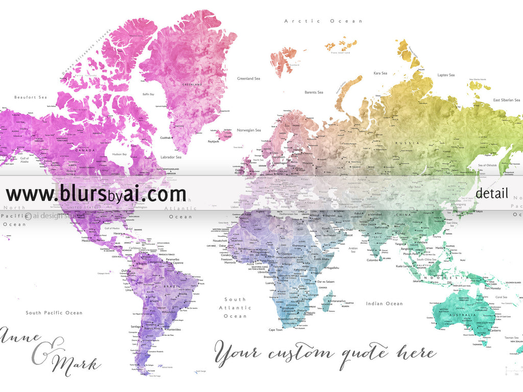 Personalized world map printable colorful gradient watercolor custom quote printable colorful gradient watercolor world map with cities capitals countries gumiabroncs Image collections