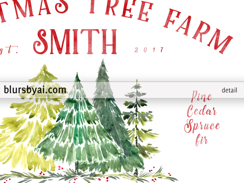 Custom family name art print - watercolor Christmas tree farm print with custom family name