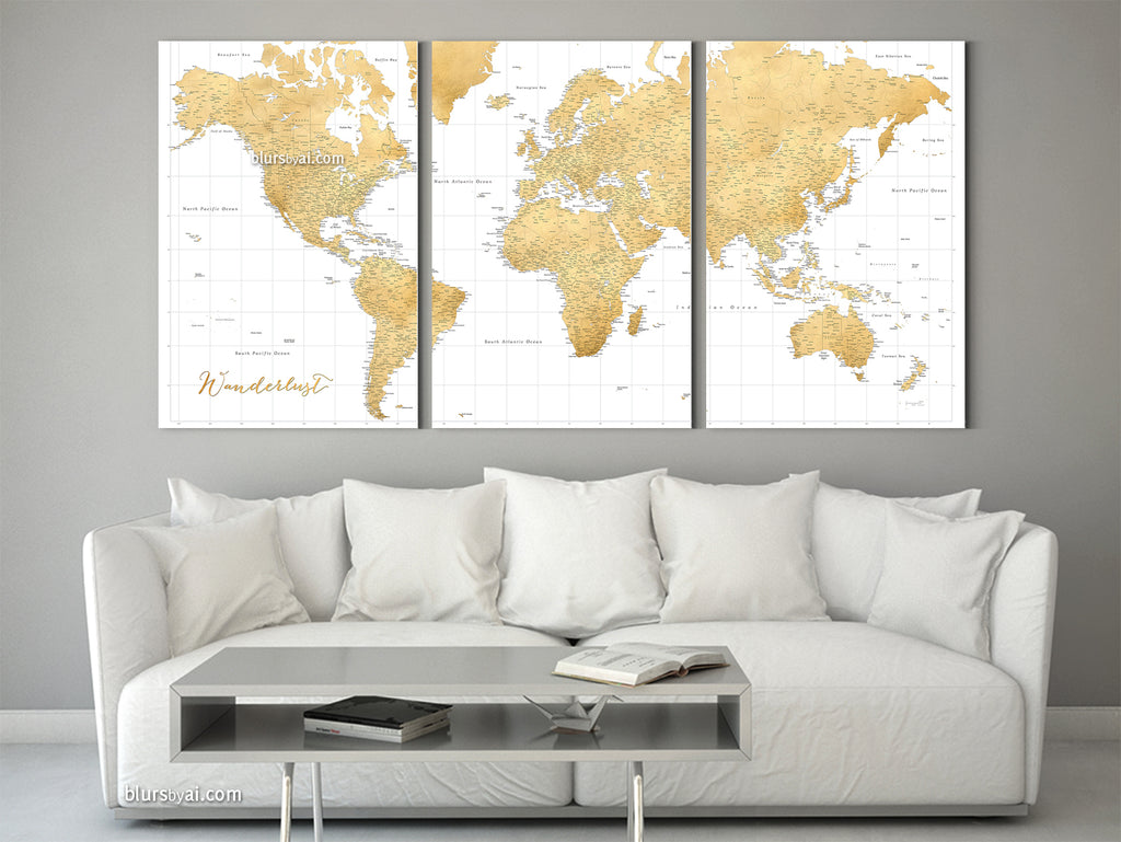 Personalized large world map or push pin map set of 3 canvas prints personalized set of 3 canvas prints or push pin maps multi panel highly detailed gumiabroncs Choice Image