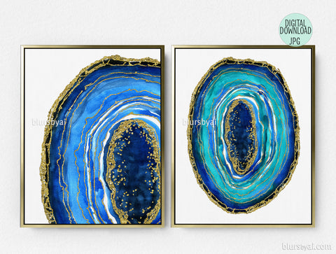 Printable watercolor geode wall art, set of two