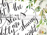 O holy night lyrics printable Christmas decor, in black and white florals